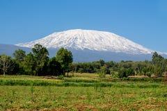 Sommet de montagne de Kilimanjaro avec la neige en Afrique image libre de droits