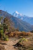 Sommet de Mountain View de neige sur le chemin au camp de base d'Annapurna Photographie stock libre de droits