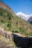 Sommet de Mountain View de neige sur le chemin au camp de base d'Annapurna Photo libre de droits
