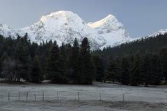 Sommets couronnés de neige de bâti Giona, Grèce Photographie stock libre de droits