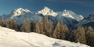 Sommets en hiver Images stock