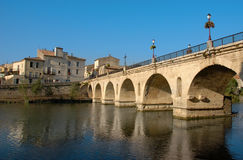 Sommieres bridge. Medieval bridge of sommieres, little town in gard, france Stock Photos