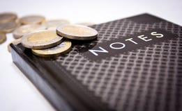 Euro op nota's Stock Afbeeldingen