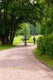 Sommige fietsers op het park volgen royalty-vrije stock afbeelding