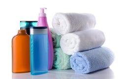 Sommige flessen van douche gelatineren en shampoo Royalty-vrije Stock Foto