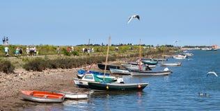 Sommige helder gekleurde boten bij Putten Royalty-vrije Stock Fotografie