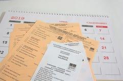Sommige kiesstemmingen voor afgelopen stemmen voor het congres van de afgevaardigden van Spanje stock foto's
