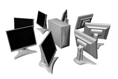 Sommige LCD monitors en geval stock illustratie