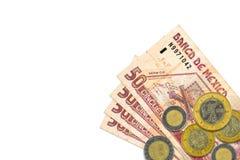 Sommige Mexicaanse pesobankbiljetten en muntstukken stock foto's