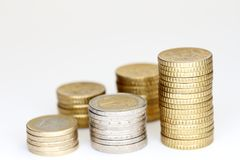 Sommige verschillende euro muntstukstapels Royalty-vrije Stock Afbeelding