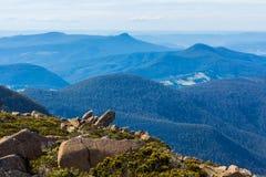Sommità dei picchi di trascuratezza di Wellington del supporto intorno ad Hobart Fotografia Stock