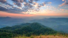 Sommità della collina di Tulay, provincia di Tak, Tailandia Fotografia Stock Libera da Diritti