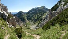 Sommità della montagna di Tosc dal pendio di collina di Visevnik nel parco nazionale di Triglav in Julian Alps in Slovenia Fotografia Stock