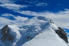 Sommità della montagna della neve di Mont Blanc French Alps Immagine Stock