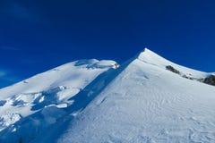 Sommità della montagna della neve di Mont Blanc French Alps Fotografie Stock