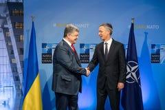 Sommità di alleanza militare di NATO a Bruxelles fotografie stock libere da diritti
