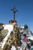 Sommità di Gaislachkogel e turisti, Austria, editoriale Fotografie Stock Libere da Diritti
