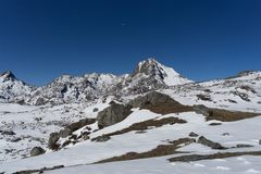 Sommità di Himalata della montagna nel Nepal Fotografia Stock Libera da Diritti