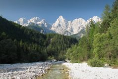 Sommità di Jalovec nelle alpi di Julian Fotografia Stock Libera da Diritti