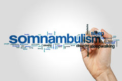 Somnabulism word cloud. Concept on grey background Royalty Free Stock Image