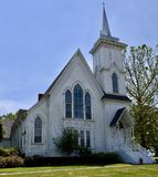 A Somonauk Church. This is a Spring picture of the Somonauk United Presbyterian Church located in Somonauk, Illinois in DeKalb County.  This church was built in Royalty Free Stock Photo