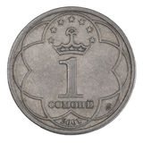 Somoni coins. Tajik Somoni 1 coins closeup on white background Royalty Free Stock Image