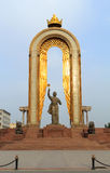 Somoni statue in the center of Dushanbe, Tajikistan Royalty Free Stock Image