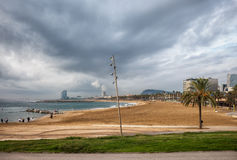 Somorrostro海滩在巴塞罗那 库存图片