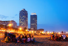 Somorrostro Beach in Barcelona, Spain. Somorrostro Beach in summer evening. Barcelona, Spain Royalty Free Stock Photos