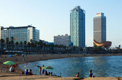 Somorrostro beach in evening. Barcelona. BARCELONA, SPAIN - JUNE 23, 2014: Somorrostro beach in evening. Barcelona Stock Photos
