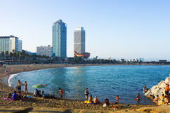 Somorrostro beach in evening. Barcelona. BARCELONA, SPAIN - JUNE 23, 2014: Somorrostro beach in evening. Barcelona, Spain. Mediterranean coast in Catalonia has Royalty Free Stock Photos