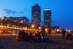 Somorrostro Beach in summer night. Barcelona. Spain Stock Photography