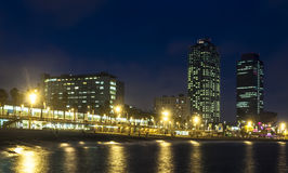 Somorrostro Beach in summer night. Barcelona. Spain Royalty Free Stock Images