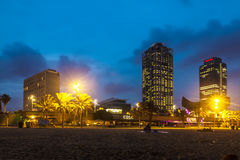 Somorrostro Beach in summer night. Barcelona. Spain Stock Photos