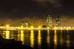 Somorrostro Beach in summer night. Barcelona, Spain. Somorrostro Beach in summer night. Barcelona Stock Image