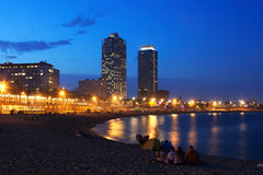 Somorrostro Beach in summer twilight. Barcelona. View of Somorrostro Beach in summer twilight. Barcelona, Spain Stock Photos