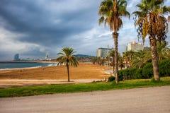 Somorrostrostrand in Barcelona stock foto