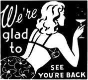 Somos Glad To See You ' con referencia a la parte posterior 3 ilustración del vector