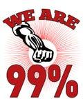 Somos los 99% ocupamos al trabajador del americano de Wall Street Foto de archivo