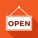 Somos muestra abierta con la tienda abierta de la información, ejemplo del vector Foto de archivo