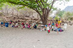 SOMOTO, NICARAGUA - APRIL 24, 2016: People having rest at a beach near Somoto canyo. N stock photos