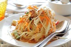 Somtam或番木瓜沙拉,泰国的最著名的食物 免版税库存照片