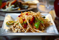 Somtam或番木瓜沙拉,泰国食物 免版税库存照片