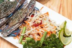 SOMTAM. Crab salad served with a popular food Stock Image