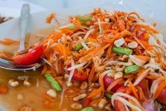 Somtam, en berömd kokkonst i Thailand Fotografering för Bildbyråer
