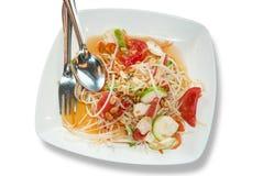 Somtam, ensalada verde de la papaya, cocina tailandesa Foto de archivo