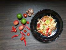 Somtam för kryddig sallad thailändsk mat Royaltyfri Fotografi