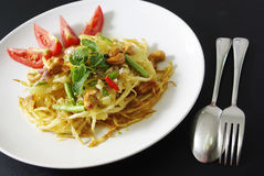 SomTam Fry. SomTam or Papaya Salad Fry royalty free stock photos
