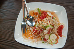 Somtam, Green papaya salad. Thai cuisine Stock Photo