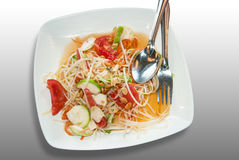 Somtam, Green papaya salad. Thai cuisine Royalty Free Stock Photos